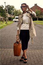 Burberry jacket - Zara bag - vintage skirt - Zara jumper - Reiss heels