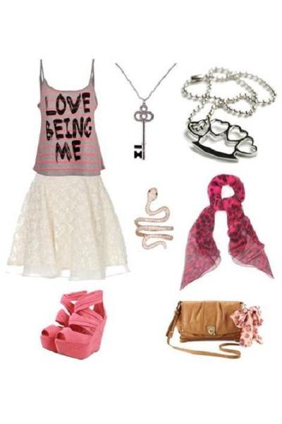 hot pink scull Alexander McQueen scarf - light brown Rebecca Tylor bag