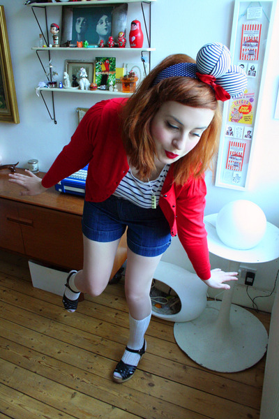 red Kind cardigan - black Swedish Hasbeens shoes - blue vintage shorts