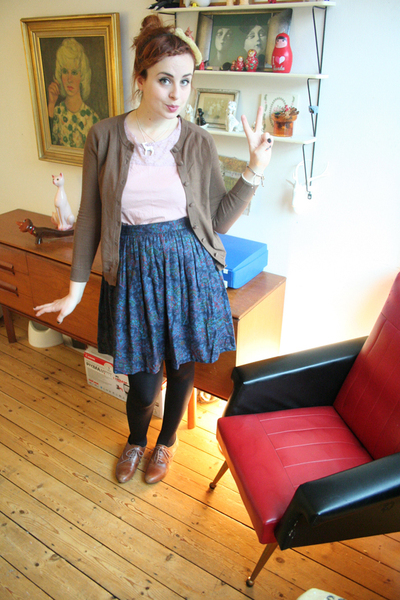 brown Office shoes - brown H&amp;M cardigan - purple Vintage from Clever Nettle skir