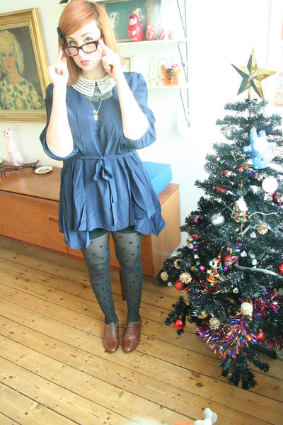 blue tba dress - black vintage shorts - gray Accessorize tights - brown Office s