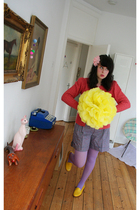 orange H&M cardigan - purple Luella shorts - purple Tabio tights - yellow shoes