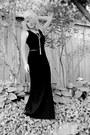 Black-stretchy-tank-banana-republic-top-black-heavy-material-thrifted-skirt