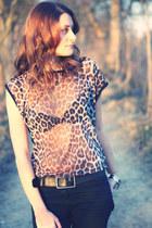 tawny leopard print mim t-shirt
