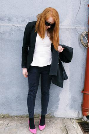 pink H&M heels - Zara blouse