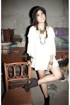 black Forever 21 boots - black borrowed hat - ivory moms Zara blouse