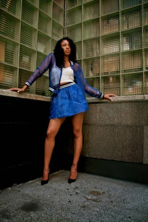 blue mesh Kasual Lux jacket - so kates Christian Louboutin shoes