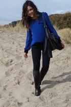 black leather vintage boots - blue chiffon Bright Blouse blouse