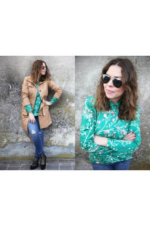 black H&M shoes - light brown Promod coat - navy Zara jeans