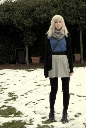 silver H&M scarf - blue Dorothy Perkins shirt - silver Zara skirt - black Zara c