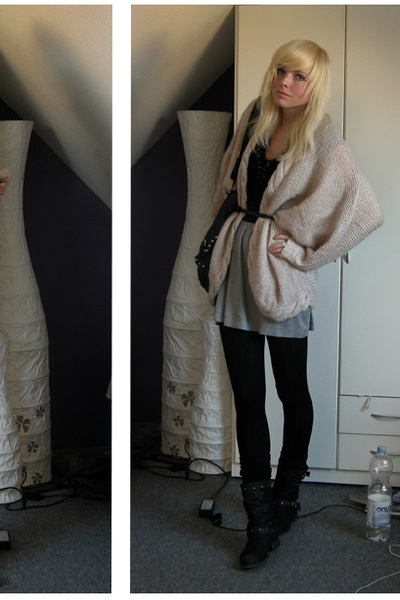 beige H&M cardigan - black Zara accessories - silver Zara skirt - black Akira bo