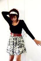 black vintage dress - red What A Girl Wants belt - silver sm department store