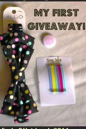 black polka dot bow Aldo accessories - red rainbow hairpin Sophia accessories -