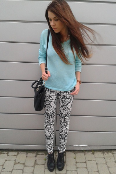 ivory H&M pants - aquamarine H&M sweater