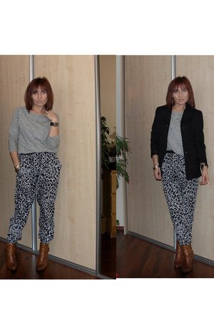 gray leopard print Atmosphere pants - heather gray Zara blouse