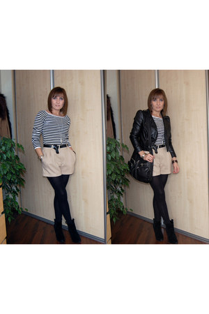 black H&M jacket - beige H&M shorts - white GINA TRICOT blouse - black BCBGenera