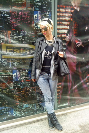 black BSB jacket - periwinkle Bershka jeans - heather gray Tally Weijl blazer