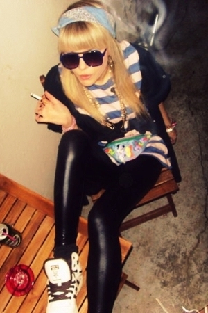Sonia Rykiel shirt - American Apparel leggings - vintage accessories - adidas sh