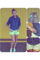 silver  hairbow hat - blue jeans Katana jacket - white   shorts