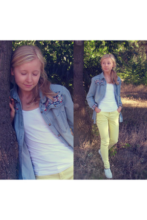 light blue colorful Jeans shirt