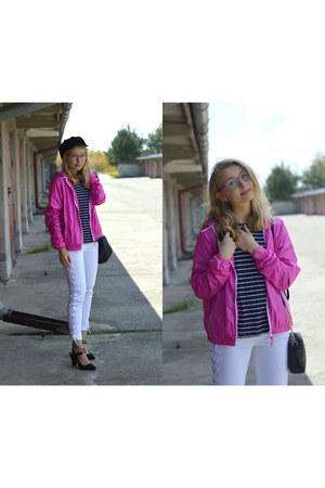 white lace-up Mohito jeans - bubble gum hot pink New Yorker jacket