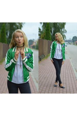 green satin zaful jacket - white off-shoulder zaful blouse