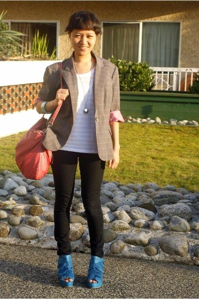 tonic wedges - Forever 21 jeans - grandmas closet blazer - Guess bag