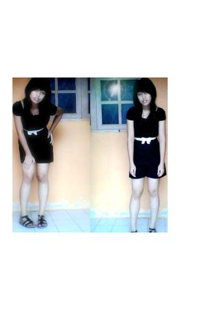 black blouse - black shorts - shoes - belt