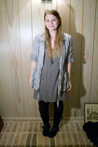 Old Navy jacket - Forever21 dress - DIY leggings - Topshop boots