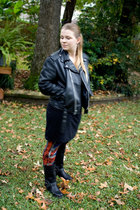 black vintage jacket - American Apparel dress - Charlotte Russe leggings - black