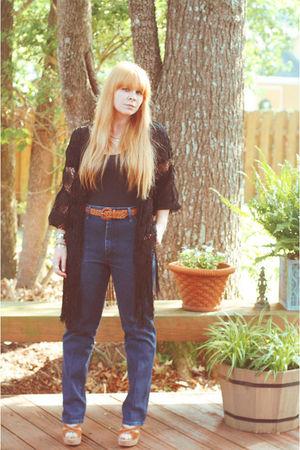 black vintage - black vintage cardigan - blue vintage jeans - brown vintage belt