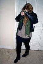 black vintage jacket - black Frye boots - black Target leggings - black RVCA dre