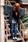 Black-scarf-silver-i-3-ronson-top-blue-levis-jeans-vintage-jacket-black-