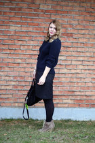 navy cotton Ralph Lauren sweater - Charlotte Russe boots - Target tights