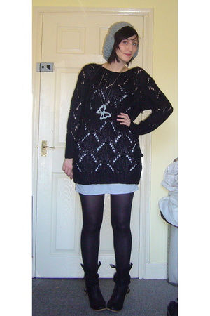 tesco hat - Vero Moda sweater - Vero Moda dress - Primark shoes - vintage purse