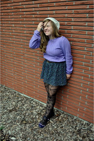 purple delias skirt - purple H&M& sweater - black Urban Outfitters tights - whit