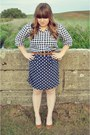 Gingham-jcrew-blouse-polka-dot-francesscas-collections-skirt