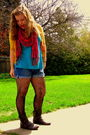 Uo-sweater-old-navy-shorts-uo-tights-f21-f21-boots-uo-top