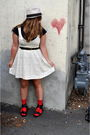 White-forever21-dress-blue-uo-top-black-uo-shoes-red-walmart-socks-beige