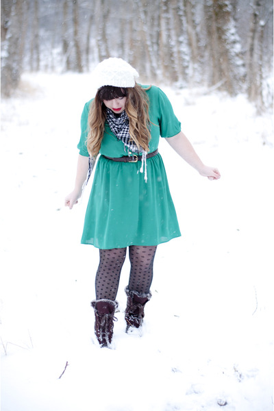 teal emerald everly dress - black polka dot Forever21 tights