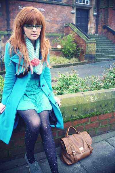 turquoise blue Motel coat - black Tabio tights - brown Matalan bag