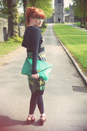 green mado dress - dark gray H&amp;M cardigan - brown M&amp;S wedges