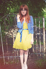 Chartreuse-asos-dress-blue-topshop-jacket-white-calvin-klein-socks