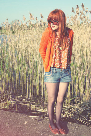 blue River Island shorts - tawny Topshop vest - carrot orange Zara cardigan