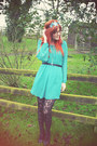 Turquoise-blue-debenhams-dress-teal-headband-crown-and-glory-accessories