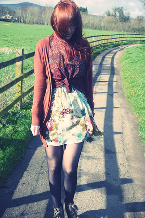 chartreuse Love dress - brown M&S boots - crimson repuplic shirt