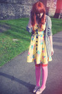 Yellow-asos-dress-bubble-gum-asos-socks-heather-gray-h-m-cardigan