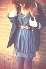 Blue-topshop-coat-blue-dress-blue-oasis-tights-yellow-dorthy-perkins-shoes