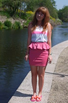bubble gum asos skirt - light blue new look vest - hot pink ted baker sandals