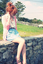 salmon Primark cardigan - white new look blouse - sky blue Topshop skirt